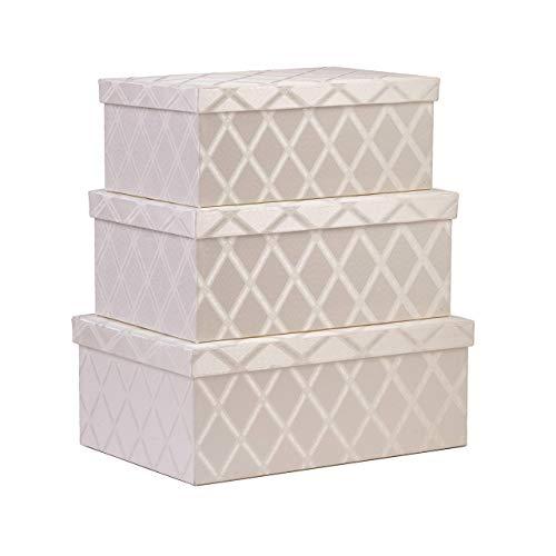 Toys Storage Bins 3-pcs Set - Fabric Decorative Storage Boxes with Lids - Shelf Closet Organizer Basket - Decor Nesting Boxes - Stylish Gift Boxes with Lids LargeMediumSmall Sizes Off White