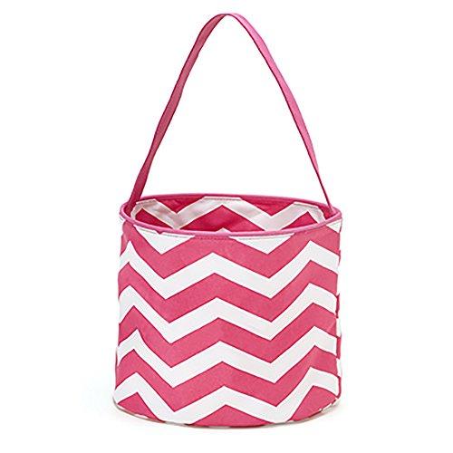 Chevron Fashion Print Fabric Bucket Tote Round Storage Tub Pink Chevron