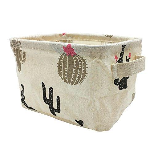 Mziart Cute Small Storage Basket with Handle Foldable Cotton Fabric Storage Organizer Box for Nursery Kids Babies Room Shelves Desks Black White Cactus
