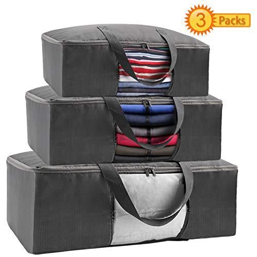Amurgo Large Capacity Clothes Zipper Storage Bag Organizer 3 Packs Clear Window Sturdy Handle for Comforters Blankets Bedding Foldable Closet Organizer