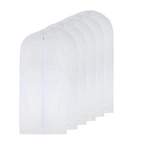 Garment Bag Clear 24 x 40 Suit Bag Moth Proof Garment Bags White Breathable Full Zipper Dust Cover for Suit Dance Clothes Closet Pack of 6