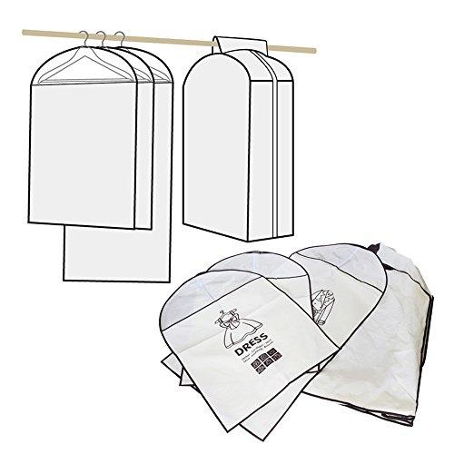 Ikee Design 4pcs Set Hanging Garment Bags Closet Organizer Storage for Dress Coat Suits