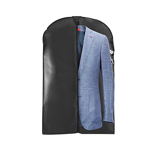 Houseables Suit Bag Hanging Jacket Bags for Suits 40 3 Pack Black Travel Clothes Carrier Dress Cover Garment Protector Clear Window Breathable Frameless Costume Storage Luggage Carry On