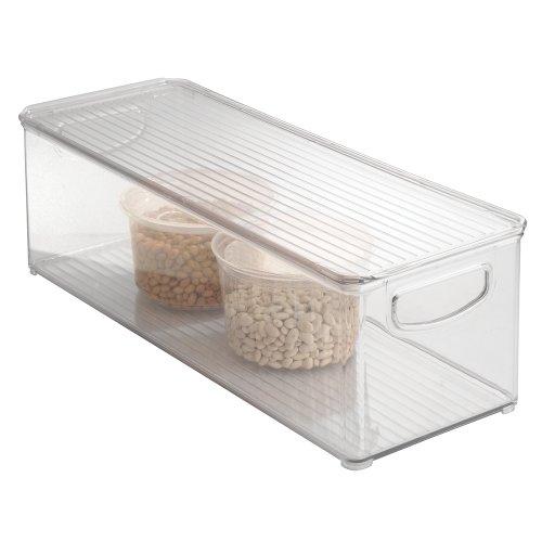 InterDesign Storage Organizer Bin with Lid for Kitchen Pantry Cabinets Office - 16 x 6 x 5 Clear