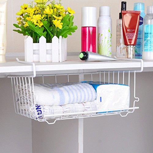 Kangkang Multi-Purpose Metal Hanging Basket Under Shelf Basket Storage Holder Hanging Drawer Organizer Basket Wrap Rack White