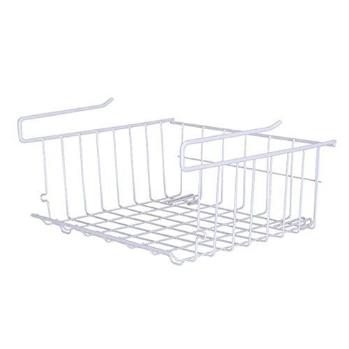 Multi-Purpose Metal Hanging Shelves Under Shelf Divider Storage Wire Rack Holder Drawer Cabinet Kitchen Organizer Basket Wrap Rack White