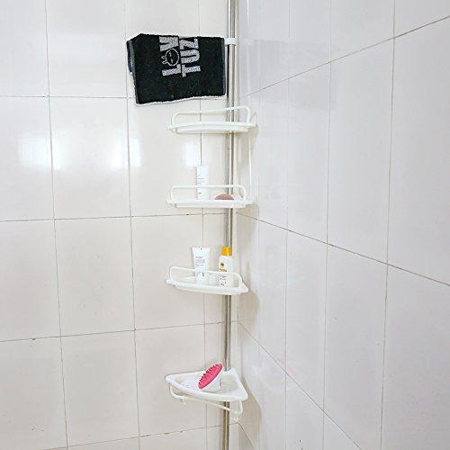 4-Tier Bathroom Corner ShelfAdjustable Telescopic Shower Shelf Shower Corner Rack - Stainless Steel Clad Pipe Height of 63 -118