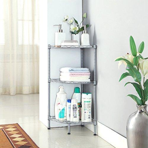 LANGRIA 3-Tire Bathroom Corner Shelf Wire Shelving Units Free Standing Corner Rack Display Tier Shelf KitchenSilver