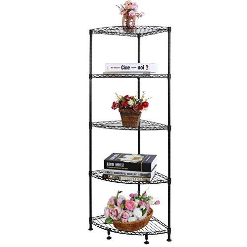 Lifewit Corner Shelf 5 Tiers Adjustable Metal Storage Wire Shelving Unit Corner Rack Black for Living Room Bathroom Kitchen