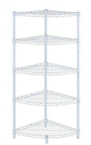 New White 5-Tier Corner Rack Display Shelf Kitchen Storage Wire Shelving C485
