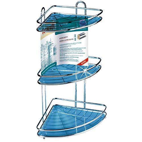 Tatkraft Kaiser Large Capacity Triple Corner Bathroom Shower Shelf Rack Antirust Chrome Plated Steel
