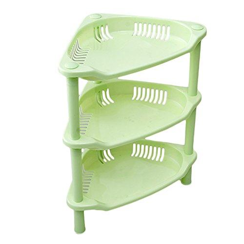 Topshop 3 Tier Plastic Corner Shelf Organizer Bathroom Kitchen Storage Rack Holder Green