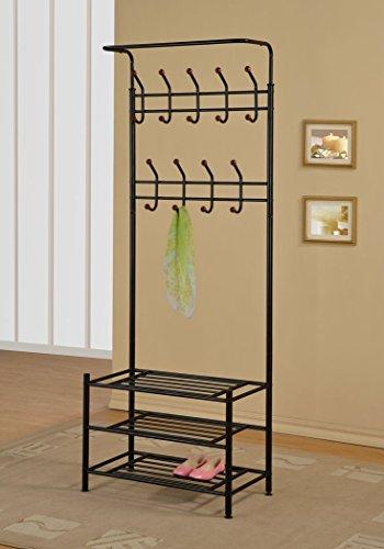 Black Metal Entryway Storage 3-tier Shoe Bench with Coat Hat Rack 18 Hooks