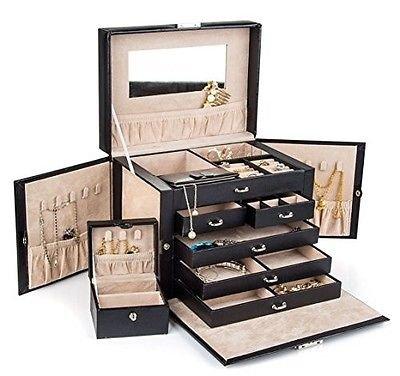 Generic YC-US2-160428-109 8&35511 ganizerh Ring Disp Watch Ring Display Large Black Storage Box Travel Leather Jewelry Case Organizer Large Black