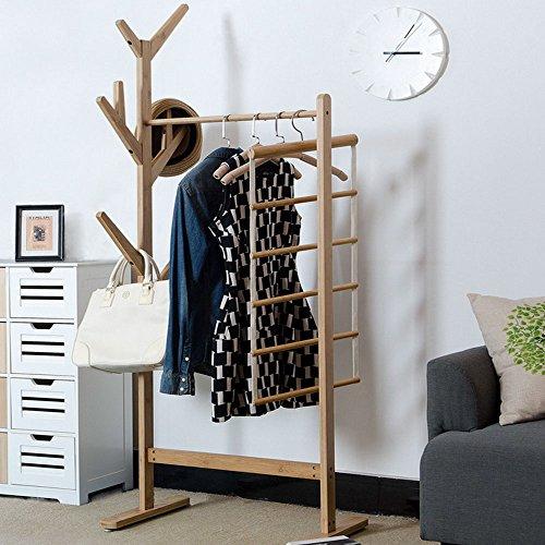 Bamboo Standing Coat Rack Hat Hanger Holder Hooks for Clothes Bag Hat Tree Stand