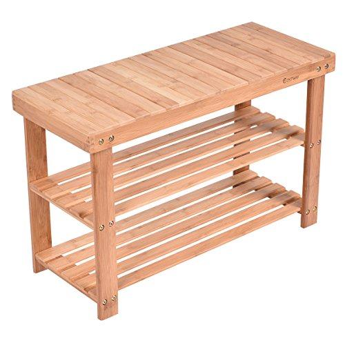 2 Tier Shelf Standing Closet Household Wooden Shoe Rack Oragnizer Storage