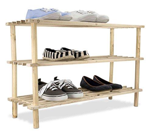 Home Basics 12 Pair  3 Tier Wooden Shelves Shoe Rack