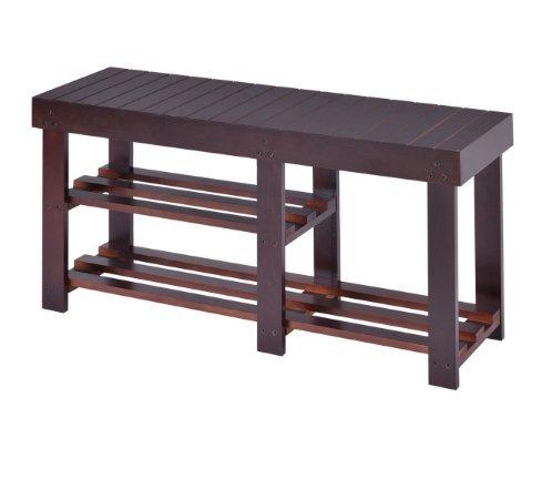 Storage Bench Wooden Shoe Rack Shelf Organizer Seat Entryway Hallway End Table Garden Furniture Home