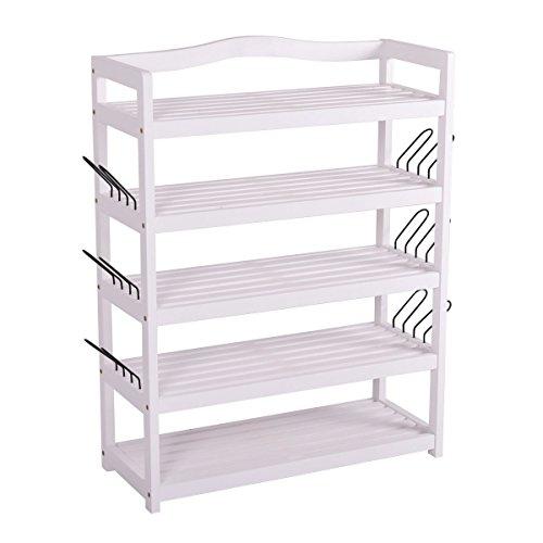 White 5-Tier Wooden Shoe Rack Shelf Storage Organizer Entryway Home Furni By Allgoodsdelight365