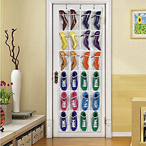 Amrka 24 Pockets Shoes Storage Transparent Over Door Hanging Shoe Rack Hanger Tidy Organizer White