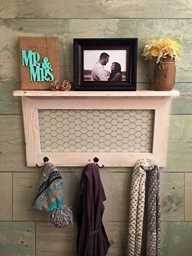 Rustic Home Décor country farmhouse décor coat rack coat rack with shelf rustic home décor shelf with hooks farmhouse style