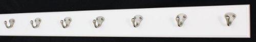 PegandRail White Coat Rack with Satin Nickel Single Style Hooks Style Hooks 36 x 35 with 7 Hooks
