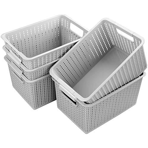 Acrux7 5 Pack Plastic Storage Basket Portable Plastic Weave Kitchen Refrigerator Basket Bathroom Desktop Storage Box for Kitchen Bathroom and Cabinet - 106Inch x 75Inch x 55Inch Gray