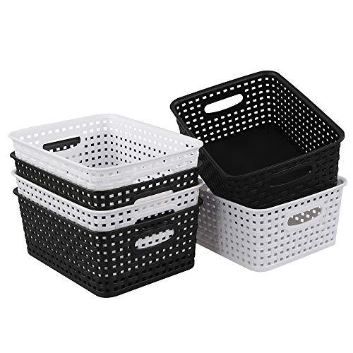 Hommp 6-Pack Woven Plastic Storage Basket Organizer