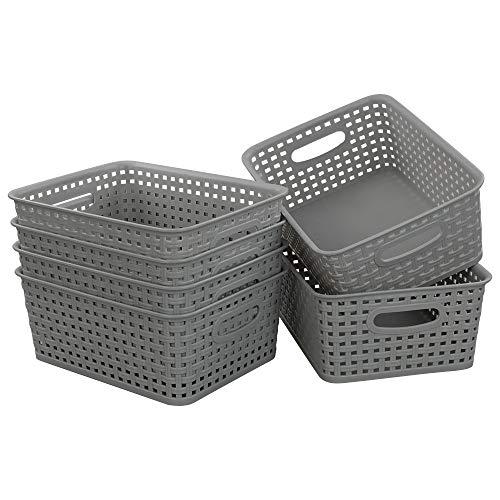 Morcte Grey Plastic Storage Basket Bins Organizer 6-Pack