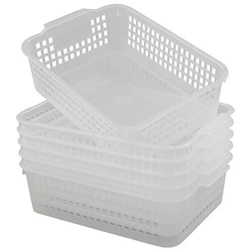 Qsbon Rectangular Plastic Storage Organization Trays Baskets in Clear 6-Pack