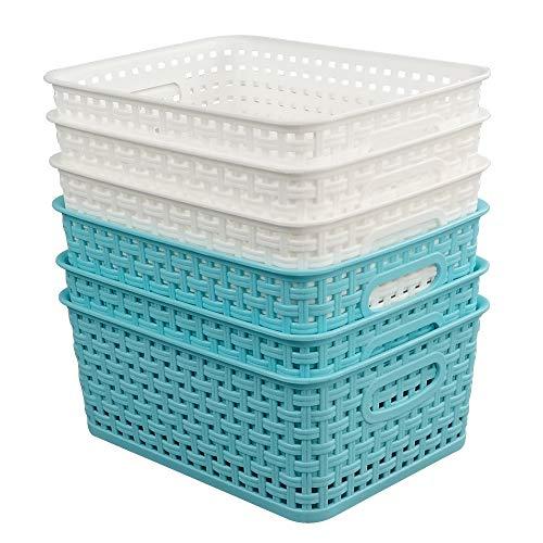Vababa Plastic Storage BasketsStorage Bins Pack for 6