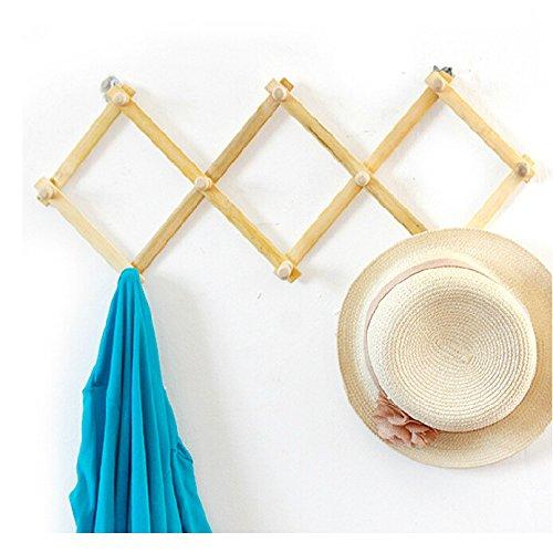Jeerbly Wooden Wood Flexible Folding Retractable Hanging Coat Rack Ten Round Knobs Clothes Hanger
