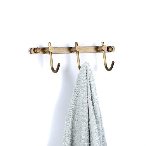 Boutique Bathroom Antique Brass 3 Hooks Towel Rack Holder Coat and Hat Hanger Wall Mounted 8