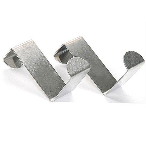 Xelue FF 4 PCS Stainless Steel Metal Over Door Hooks Kitchen Cabinet Closet Cupboard Bedstand Chifforobe Clothes Coat Hat Hanger Holder