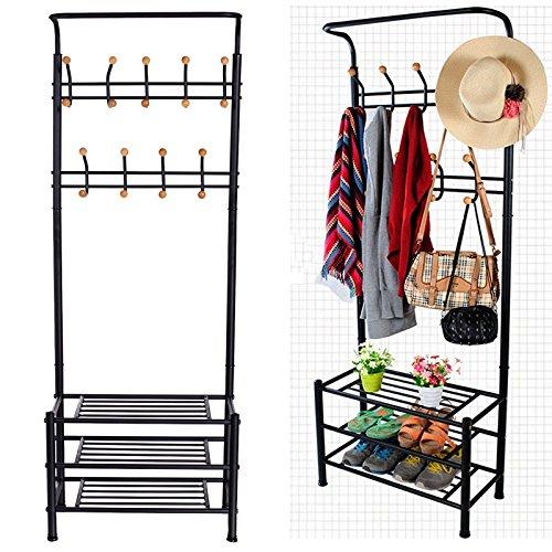 Coat Rack Stand Entryway Hooks Storage Shelves Hat Shoes Organizer 18 Hooks and 3-Tier Shelves Metal Black