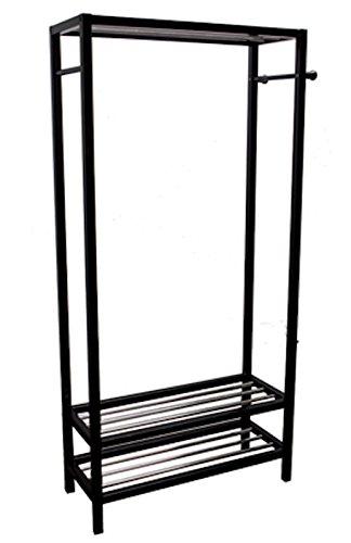 "Legacy Decor 2 Tier Shelves Shoe Garment Coat Rack Hanger 65""H X 315""W X 13D Wooden Black Finish"